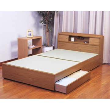 【送料無料】棚&照明&引き出し収納付き畳ベッドセミダブル