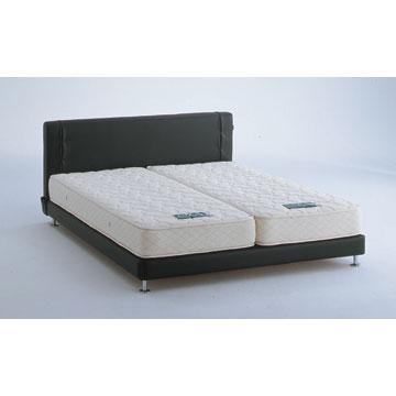 【送料無料】【アイシンASLEEP】スタイリッシュな白と黒のベッド(マットレスなし)クイーンメタル脚ロータイプ