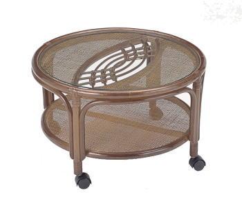 【送料無料】ラタン製ガラストップ丸テーブル(キャスター付) 【インテリア 家具テーブル】 / kagoo(カグー) 家具通販のメガサイト/OE80T43B