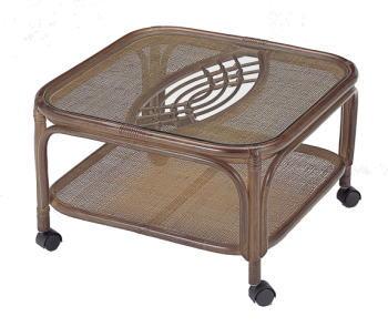 【送料無料】ラタン製ガラストップ角テーブル(キャスター付) 【インテリア 家具テーブル】 / kagoo(カグー) 家具通販のメガサイト/OE80T44B